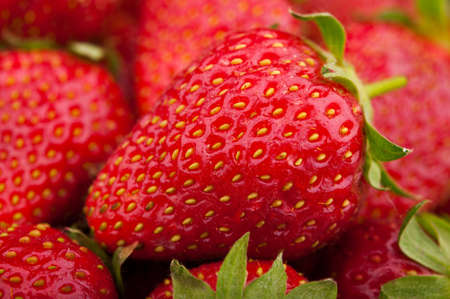 closeup of fresh red strawberries background photo