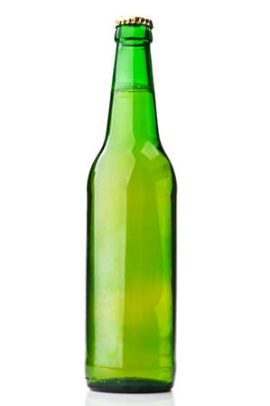 green bottle of beer isolated on white background photo