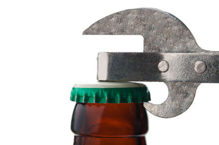 closeup of beer bottle isolated on white background Stock Photo - 14062354