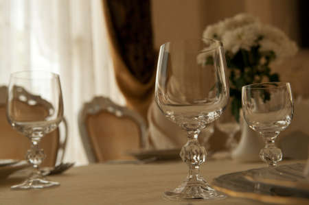 glass of wine on table at restaurant photo
