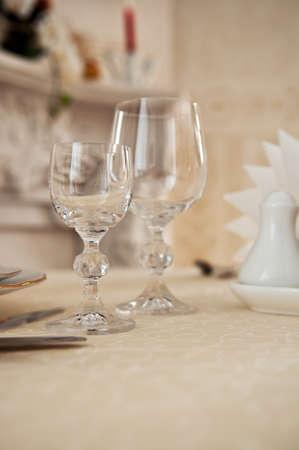 Empty glasses in restaurant background photo