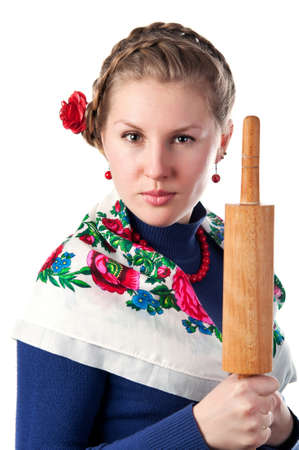wicked woman: wicked woman in the ukrainian style isolated on a white background