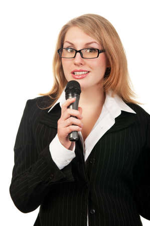 young woman reporter isolated on a white background photo