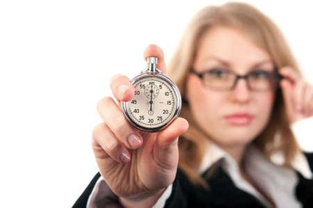Donna in possesso di un cronometro isolato su uno sfondo bianco Archivio Fotografico - 14716045