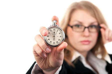 woman holding a stopwatch isolated on a white background