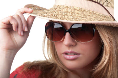 portrait of beautiful blond woman in glasses photo