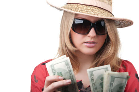 sexy blond woman with money isolated on a white background photo