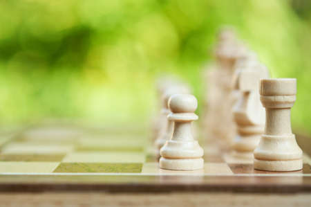 one piece: white chess pieces on the board Stock Photo