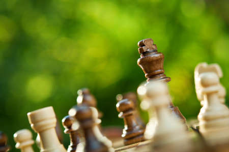 chess pieces on a table in the park Stock Photo