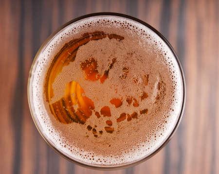 glass of beer top view Archivio Fotografico