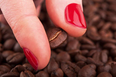 woman holding roasted coffee bean photo