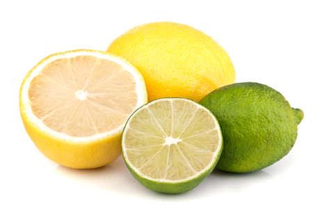 lemon lime: fresh lemon and lime isolated on white background