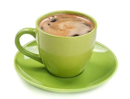 흰색에 고립 된 커피의 녹색 컵