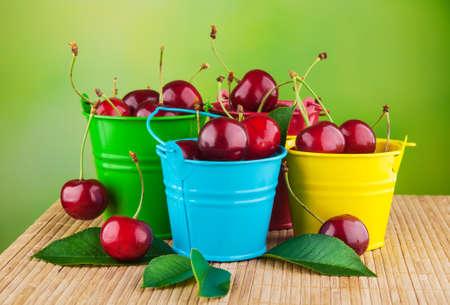 Fresh Cherries In Buckets At The Garden Stock Photo   23784939