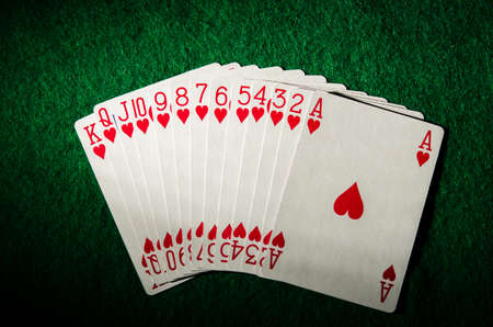 card game: set of cards on a poker table