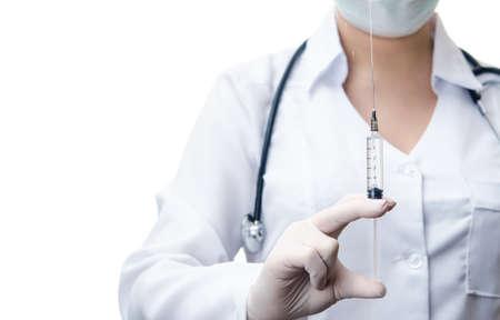 woman doctor holding syringe with drug isolated on white background