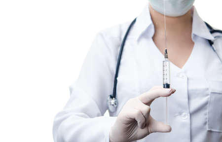 woman doctor holding syringe with drug isolated on white background photo