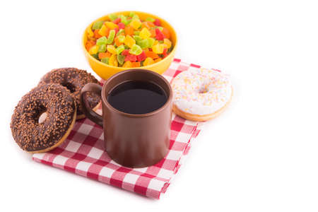 coffee with donuts and candied fruit photo