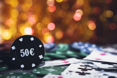 poker chip: Poker chips 50 euro. Vegas casino game.