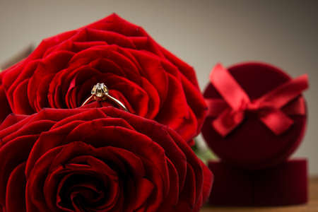 Jewellery ring like present on Valentine Day photo