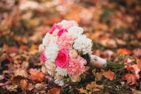 autumn wedding bouquet flowers on background Stock Photo