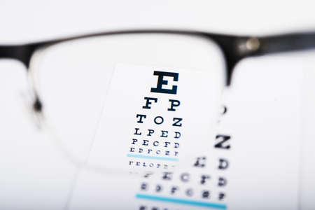 vision test: Vidrios del ojo se centran en carta del examen en el fondo