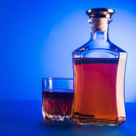 alcohol: Glass og scotch. Alcohol drink background. Stock Photo