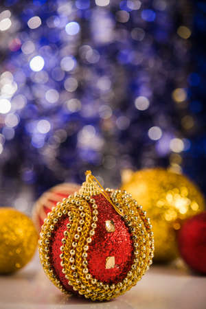 golden ball: Christmas balls on abstract background. New Years concept.