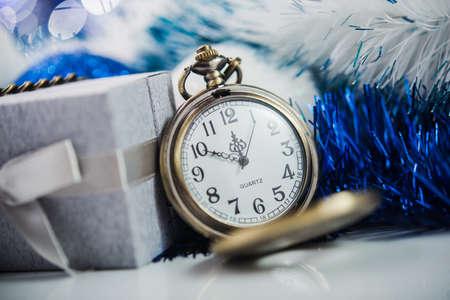 twelve: Nearly twelve oclock. New Years at midnight. Stock Photo