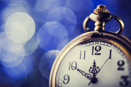 12 month old: Nearly twelve oclock. New Years at midnight. Stock Photo
