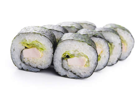 SUSHI: sushi with chicken and salad isolated on white background Stock Photo