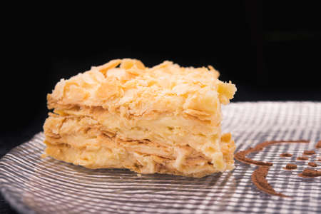 napoleon dessert: tasty napoleon cake on dish Stock Photo