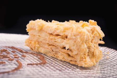 napoleon: tasty napoleon cake on dish Stock Photo