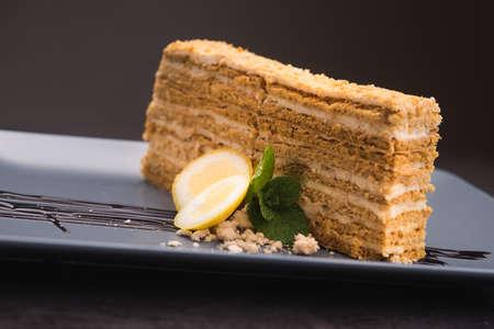 napoleon: tasty napoleon cake with mint and lemon Stock Photo