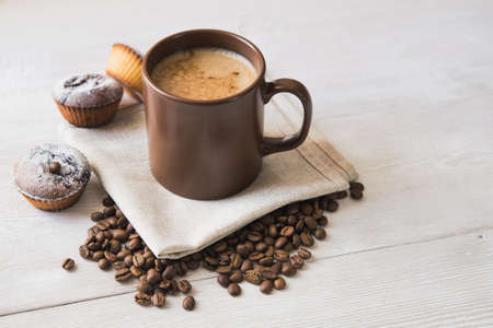 teacake: tasty cup of coffee and cakes on white board