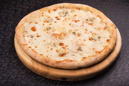 margarita pizza: margarita pizza on wooden board. fast food background Stock Photo