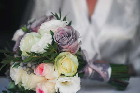 close up of beautiful bridal bouquet Stock Photo