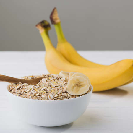 oatmeal with banana. diet concept. healhy food background