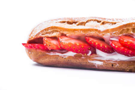 tasty strawberry cake eclair isolated on white background Stock Photo