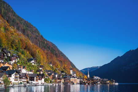 Hallstatt Lake and travel village with mountain in Austria country Stock Photo