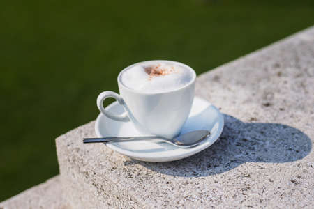 sun energy: White coffee cup with foam on a street at green park, sunny day