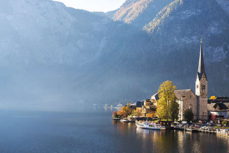Hallstatt village with beautiful lake and mountain in Alps, Austria view landscape