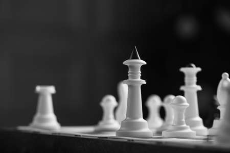 Closeup of chess king on a board. strategy game concept 写真素材