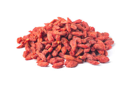 Tibetan goji berries contain many useful substances, vitamins and minerals isolated on white background