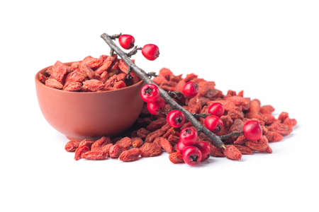 지점과 구기 열매는 많은 유용한 물질, 비타민과 미네랄이 흰색 배경에 고립 된 포함 스톡 콘텐츠