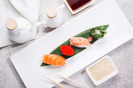 Set of japan nigiri on a white plate. traditional asian food. top view. flat lay 版權商用圖片