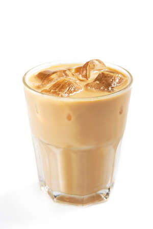 Fresh coffee ice in a glass isolated on a white background 版權商用圖片