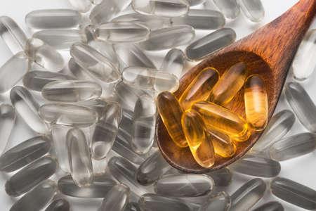 Unusual golden fish oil pills