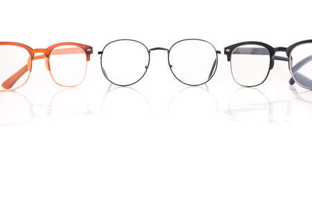 Black eye glasses isolated on a white background. accessory improvement vision.