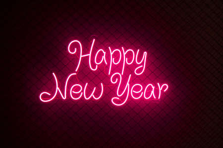 Abstract red colored lifht bright neon text Happy New Year on a black cage mesh background. Stockfoto